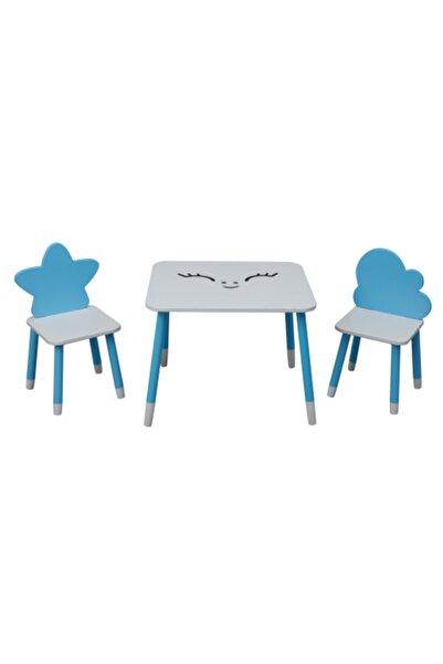 Picaline Mavi Dikdörtgen Masa 1 Yıldız Sandalye 1 Bulut Sandalye