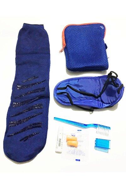 Mahi Max Çok Amaçlı Kalemlik Çantası Ve Seyahat Seti - Uyku Çorabı Uyku Bandı Diş Fırçası Ve Macunu - Mavi