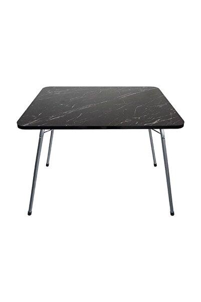 Marketonya 60x80 Granit Desenli Katlanır Masa Balkon Bahçe Kamp Masası Piknik Masası
