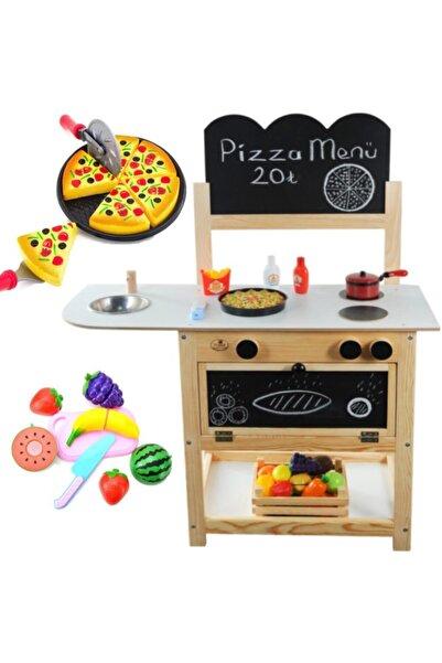 Masal Oyuncak Ahşap Oyuncak Mutfak Seti + Pizza + 14 Parça Kesme Meyve Oyunu Kız Erkek Oyuncak Mutfak Set