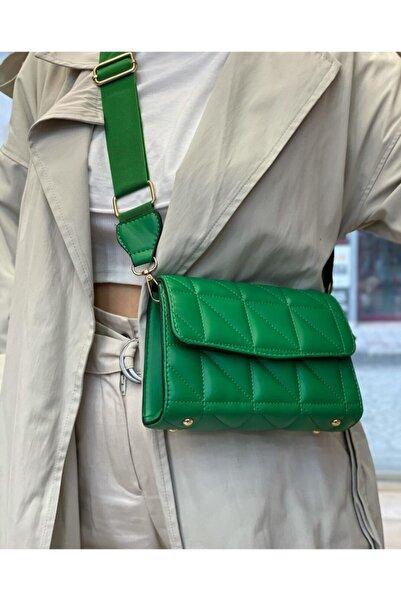CEBRICA Kadın Yeşil Nakışlı Desen Kolon Askılı Omuz Çantası