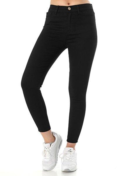 ZİNCiRMODA Kadın Yüksek Bel Dar Paça Skinny Fit Jeans Denim Kot Pantolon - Siyah