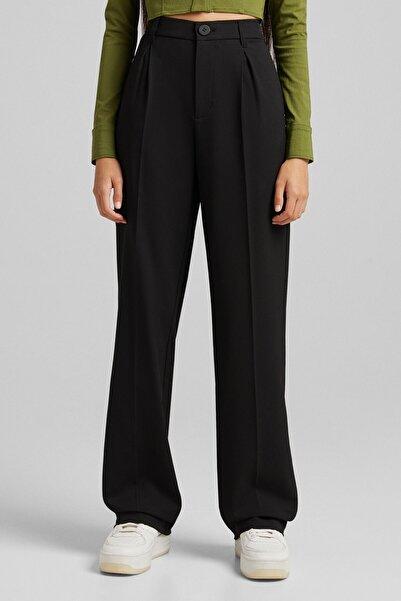 Bershka Straight Fit Pens Detaylı Pantolon