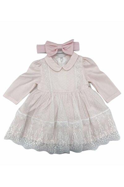 Mymio Elbise Uzun Kol Şık Kız Dantelli Pembe