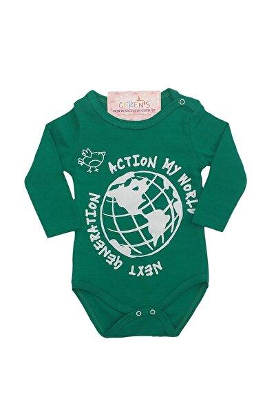 Fuar Baby Next Generation Baskılı %100 Pamuk Yeşil Erkek Bebek Uzun Kol Body