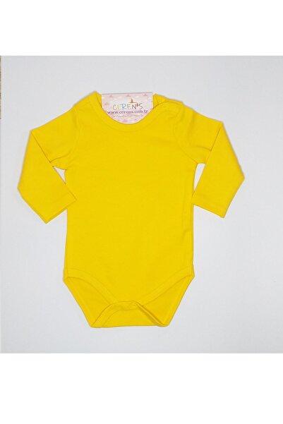Fuar Baby Düz Sarı %100 Pamuk Uzun Kol Çıtçıtlı Body