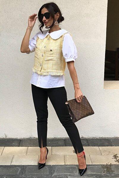 4Sisters Fashion Bebek Sarısı Taş Düğmeli Tüvit Yelek
