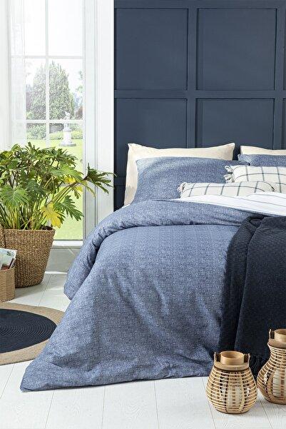 English Home Textured Stripe Pamuklu Çift Kişilik Nevresim Seti 200x220 Cm Lacivert