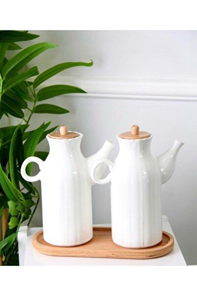 Kitchen Pembelia 2 Adet 1 Lt Porselen Yağdanlık Ve Bambu Altlık Seti_yağlık Sirkelik