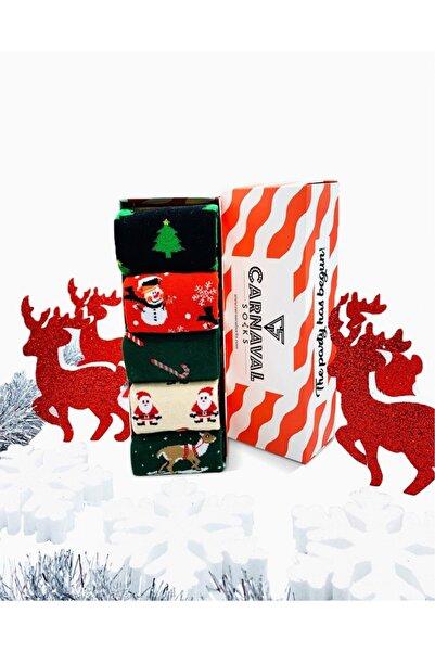 CARNAVAL SOCKS 5'li Yılbaşı Christmas Desenli Renkli Hediye Çorap Kutusu