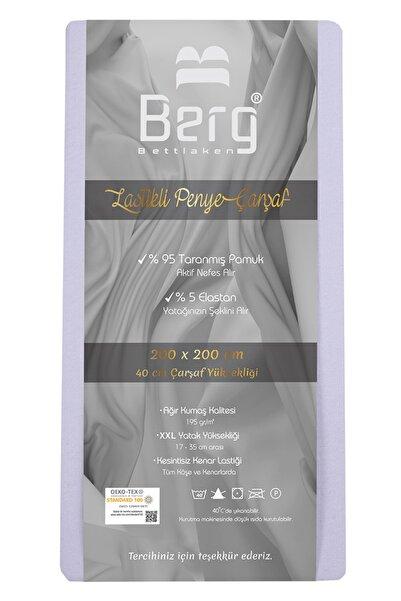 Berg Bettlaken 200x200 +35 cm Yükseklik Lastikli Lüks Penye Pamuklu Çarşaf Lila