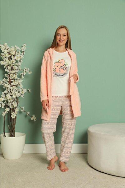 snc Kadın Wesoft 3 Parça Sabahlıklı Polar Pijama Takımı Somon 20030-