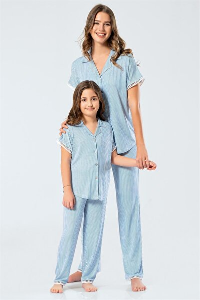 TÜREN 3343 Anne & Kız Çocuk Çizgili Kısa Kollu Kollu Gömlek Yaka Pijama Takım Mavi