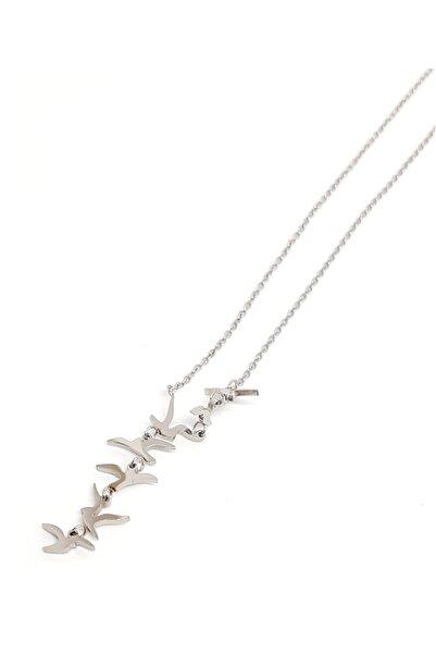 Mercan Kuş Figür Uçlu Çelik Paslanmaz Kolye