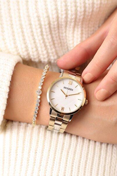 Homies Gold Gümüş Kadın Kol Saati ve Bileklik