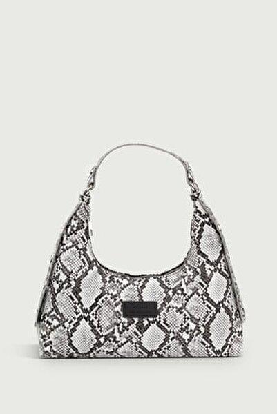 Kadın Yılan Derisi Desenli Siyah Baguette Çanta 205