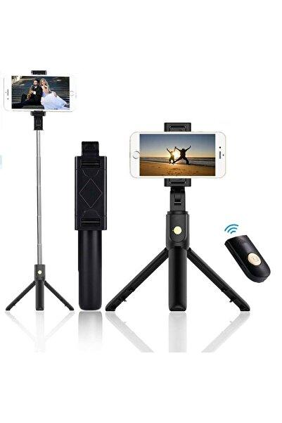 MEHMET OYGUR Cep Telefonu Uyumlu Bluetooth Kumandalı Selfie Çubuğu Tripod Tutucu Selfieçubuğutripod