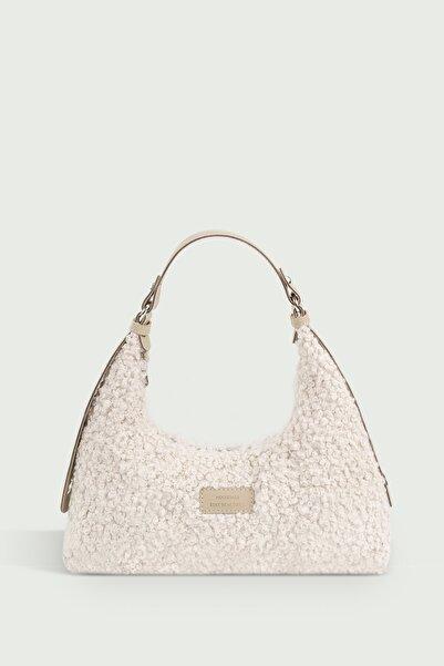Housebags Kadın Suni Kürklü Dokuma Baguette Çanta 205