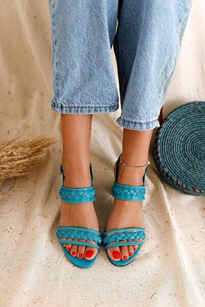 Limoya Kadın Turkuaz Şeffaf Bant Ve Örgü Detaylı Detaylı Alçak Topuklu Sandalet