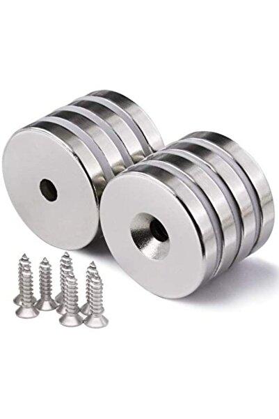 Aiwa 12x5(8x4)mm Neodyum 20 Adet Havşalı Yuvarlak Güçlü Mıknatıs