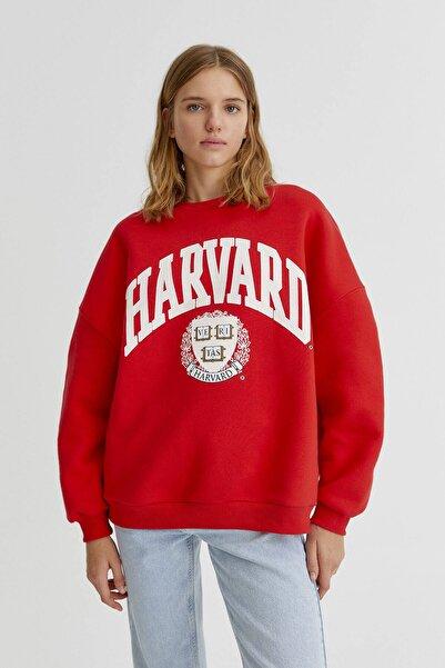 Pull & Bear Kırmızı Harvard Sloganlı Kolej Sweatshirt