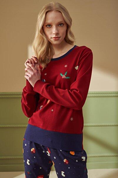 Feyza 4213 Bordo Yılbaşı Desenli Pijama Takımı