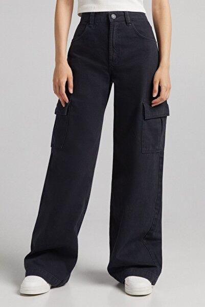 Bershka Fitilli Wide Leg Kargo Pantolon