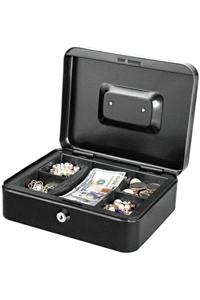 stilmax Büyük Boy Anahtarlı Çelik Kasa Bozuk Para Kasası Nakit Kutusu Cash 9x18x25cm