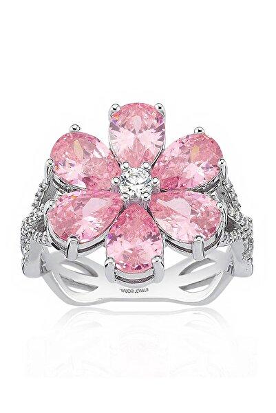Valori Jewels 4 Karat Zirkon Pembe Damla Taşlı, Manolya Çiçek Gümüş Yüzük