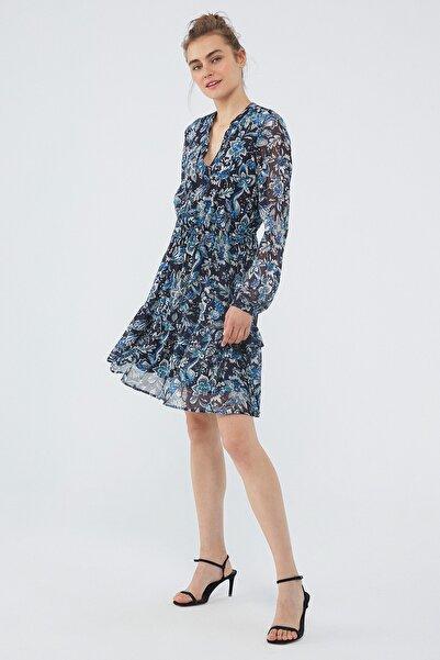 Mavi Kadın Çiçek Baskılı Lacivert Elbise 131172-35699 131172-35699