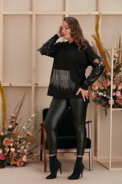 RMG Büyük Beden Kolları Pul Detaylı Önü Taşlı Siyah Bluz