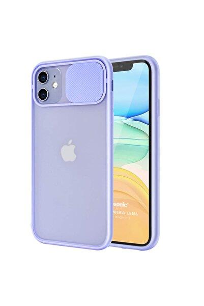 Kılıfland Iphone 12 Mini Uyumlu  Kılıf Slider Kamera Korumalı Sürgülü Case Lila