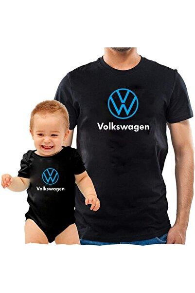 venüsdijital Volkswagen Baba Oğul Siyah Tshirt Zıbın (tekli Üründür Kombin Yapmak Için 2 Adet Sepete Ekleyiniz)
