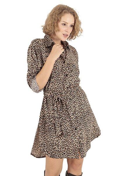 BUKETLİ Kadın Leopar Desenli Kuşaklı Mini Gömlek Elbise