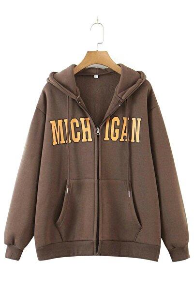 Benisengiydir Unisex Kahverengi Michigan Fermuarlı Ceket