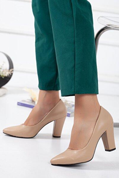 SİLVERSTONE SHOES Kadın Ten Cilt Yüksek Kalın Topuklu Stiletto Ayakkabı
