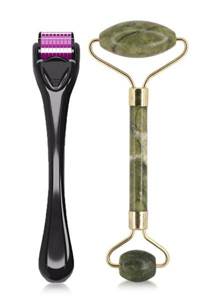 MUJGAN 2'li Cilt Bakım Seti Dermaroller Titanyum 540 İğneli 0.5 mm +yeşim Taşı Yüz Masaj Aleti