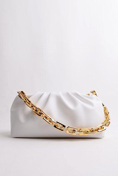 Berlesi Beyaz Kadın Altın Zincirli Çanta