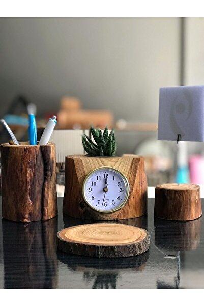 HMNL Dekoratif Masaüstü Doğal Kütük Ofis Seti Kalemlik Kartlık Masa Saati Bardak Altlığı Sukulent Saksı