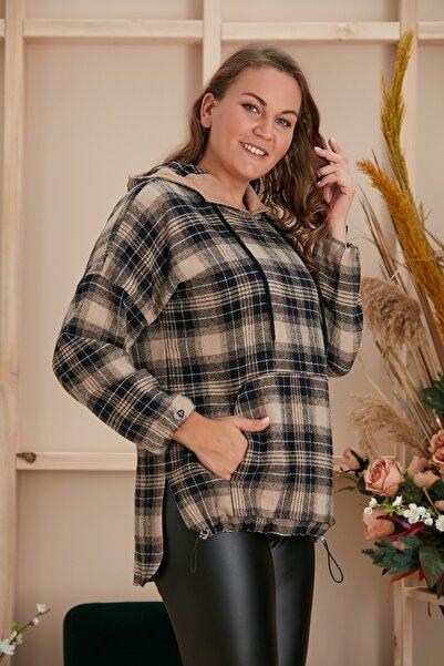 RMG Büyük Beden Ekose Desenlı Cepli Kopısonlu Bluz