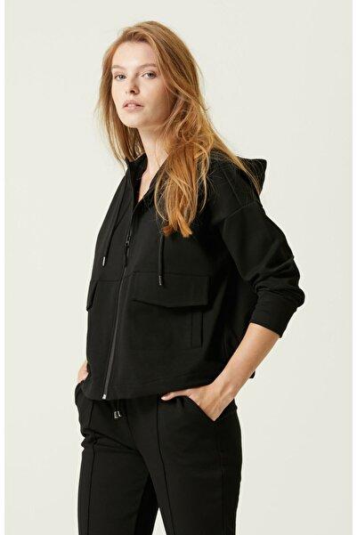 Network Geniş Fit Siyah Kapüşonlu Ceket