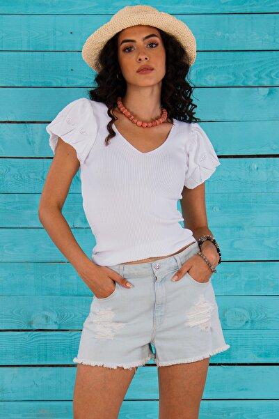 Hyde Park Kadın Beyaz Fırfır Detay Kol Ajurlu Kısa Kol Triko Bluz HP-300721000004