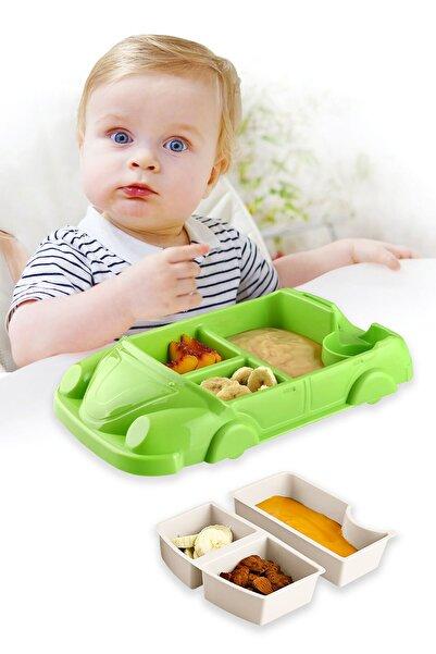 FERHOME Araba Model Mama Tabağı Seti 8 Bölmeli Çocuk Bebek Beslenme Yemek Tabak