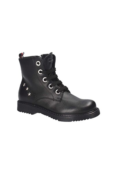 Tommy Hilfiger Black Lace-up Casual Bootie
