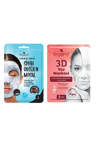 Rituel De Beaute Siyah Oksijen Maske Oksijen Maske & Hücre Yenileyici & Nemlendirici & Canlandırıcı 3d Yüz Maskesi