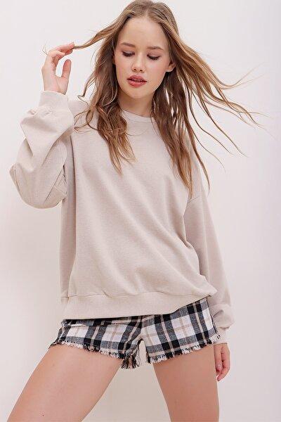 Trend Alaçatı Stili Kadın Taş Bisiklet Yaka Oversize Basic Sweatshirt ALC-669-001