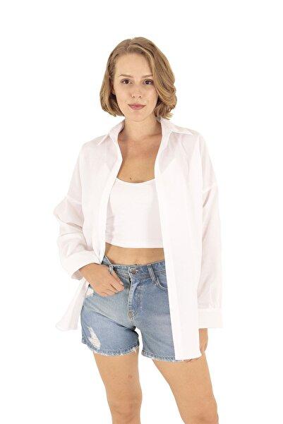 Modagusto Beyaz Oversize Uzun Basic Gömlek