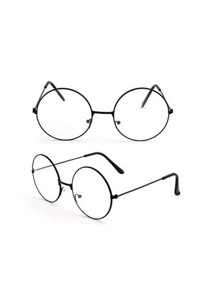 ALSANALDAN Unisex Siyah Harry Potter Anti Mavi Işınlı Retro Metal Çerçeve Şeffaf Lens Gözlük