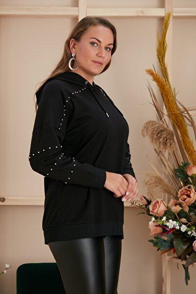 RMG Büyük Beden Çelik Boncuk Detaylı Siyah Sweatshirt