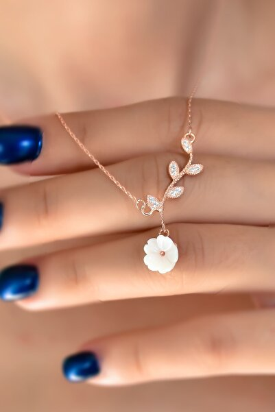 Papatya Silver 925 Ayar Gümüş Rose Kaplama Taşlı Manolya Çiçeği Kadın Kolye